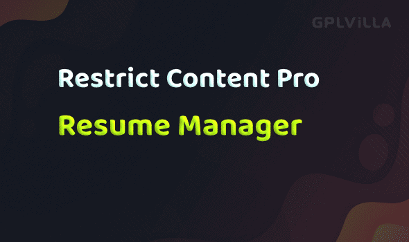 Download Restrict Content Pro - Resume Manager